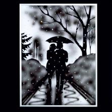 "Картина- ""Пара под дождём"""