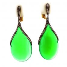 Серьги с зелёным агатом