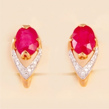 Серьги с рубинами и бриллиантами